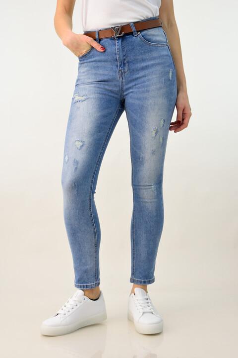 Γυναικείο ψηλόμεσο τζιν με σκισίματα - Μπλε Τζιν