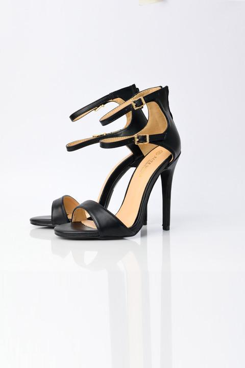 Ψηλοτάκουνα παπούτσια με διπλό δέσιμο - Μαύρο