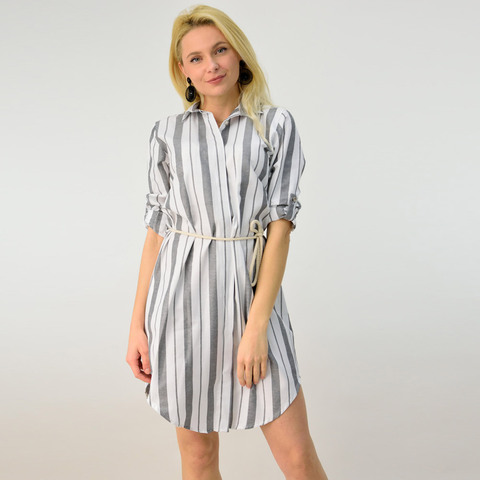 Φόρεμα ριγέ τύπου πουκάμισο με ζώνη