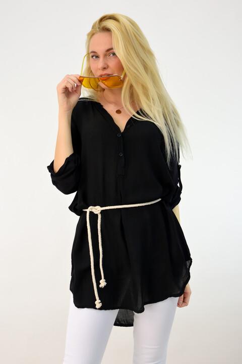 Γυναικεία αέρινη πουκαμίσα με ζώνη - Μαύρο