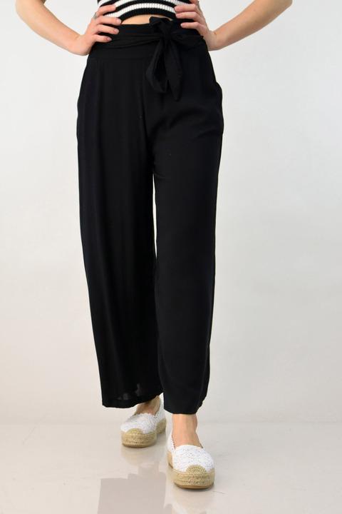 Παντελόνα μαύρη με ζώνη - Μαύρο