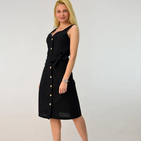 Λινό φόρεμα με ζώνη