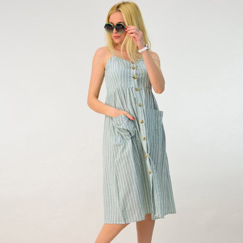 Λινό φόρεμα midi