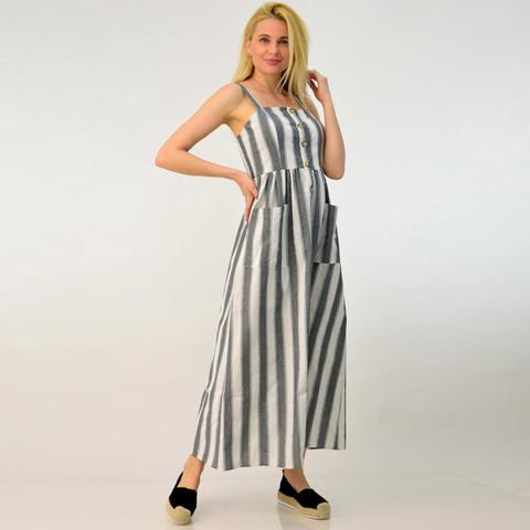 Λινό φόρεμα με τσέπες