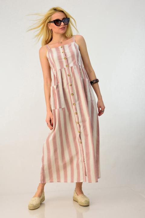 Λινό φόρεμα με τσέπες - Απαλό Ροζ