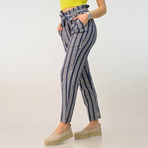 Παντελόνα ριγέ με λινή υφή