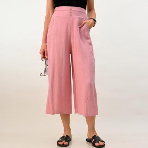 Λινή παντελόνα με κουμπιά
