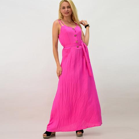 Μακρύ φόρεμα λινό με κουμπιά