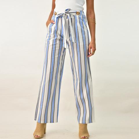 Λινή ριγέ παντελόνα με ζώνη και κουμπιά