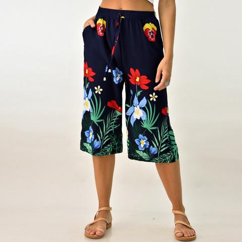 Γυναικεία παντελόνα ζιπ κιλότ φλοράλ