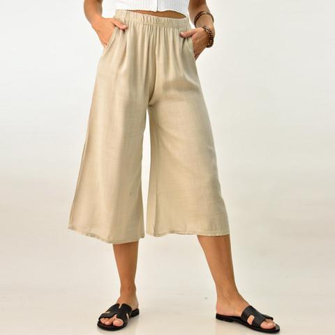 Λινή παντελόνα ζιπ κιλότ