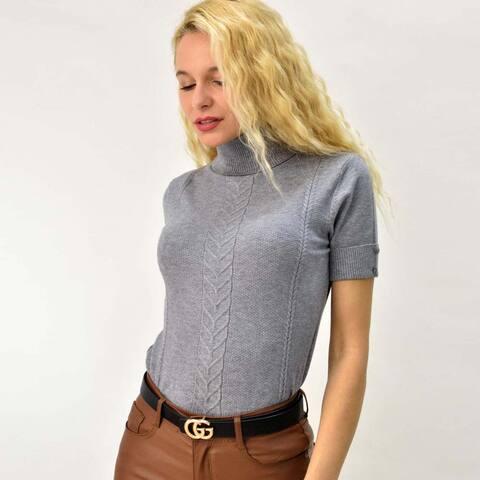 Πλεκτό κοντομάνικο μπλουζάκι ζιβάγκο με πλεξούδες