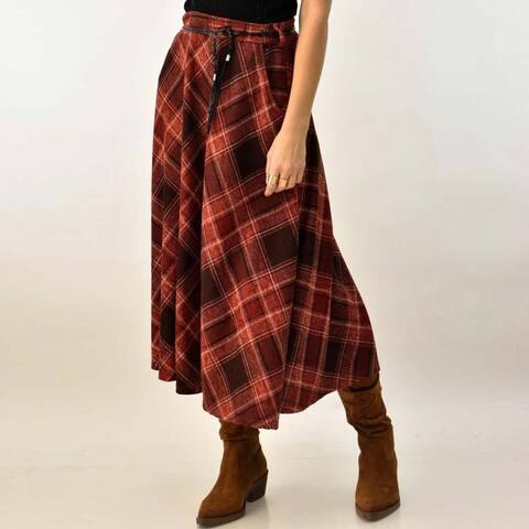 Γυναικεία καρό φούστα με τσέπες και ζώνη